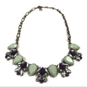 Mint Green and Violet Opaque and Clear Jewel Neckl